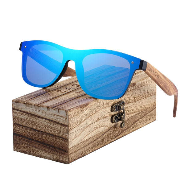 Trendy Square Walnut Wooden Rimless Sunglasses - Retailopolis