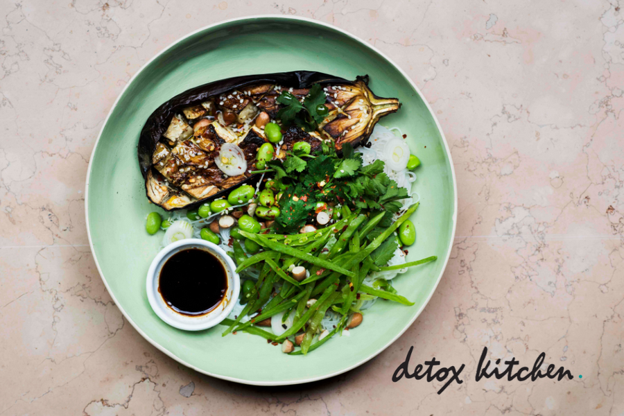 Detox Kitchen: Roasted Aubergine With Glass Noodles
