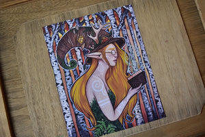 "*Discounted* Bookworm Faun - 8x10"" Recycled Art Print (Lower Quality)"