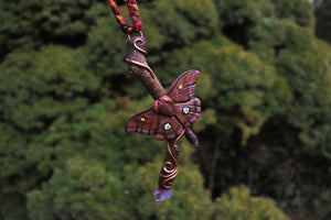 Polyphemus Moth Twig Necklace - With Amethyst and Prehnite