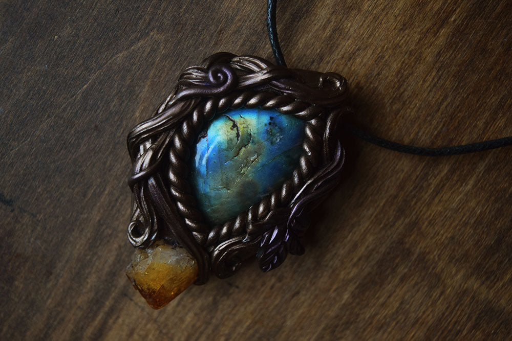 Labradorite with Citrine Forest Necklace