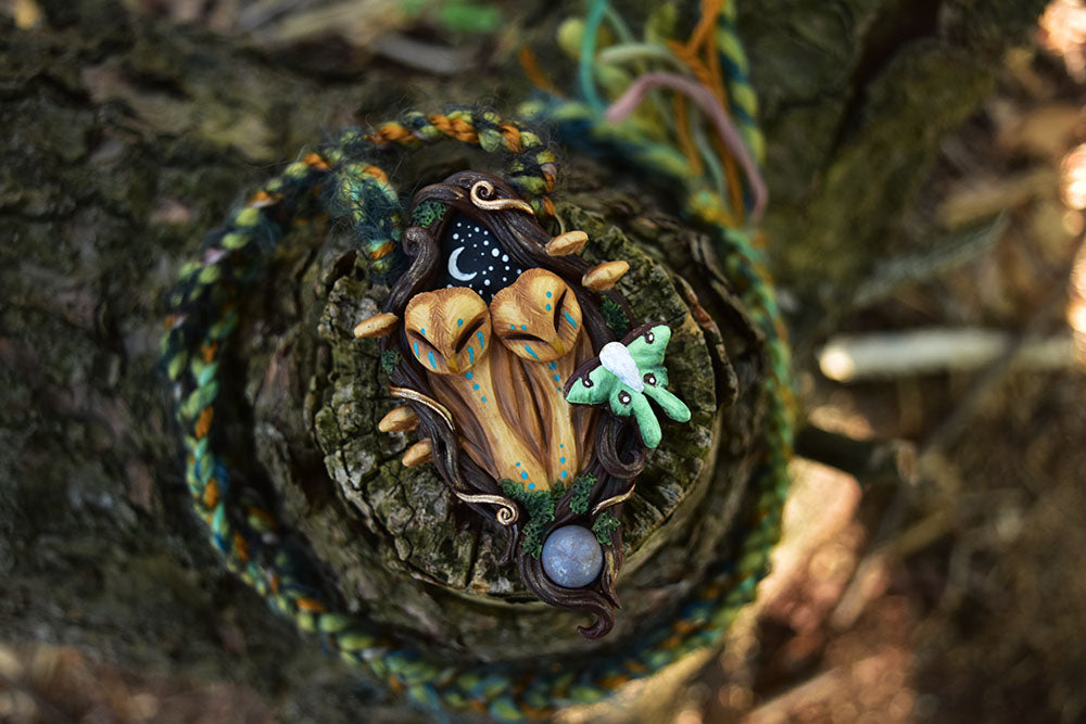 Owl Duo Forest Necklace with Agate