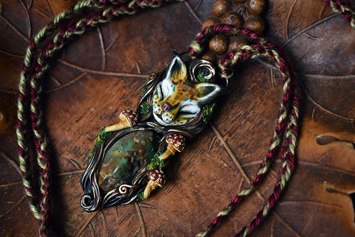 Lynx Forest Spirit with Turquoise Necklace