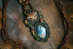 Horned Owl Forest Spirit with Labradorite Necklace