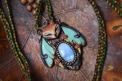 Horned Owl Luna Moth Forest Spirit with Moonstone Necklace