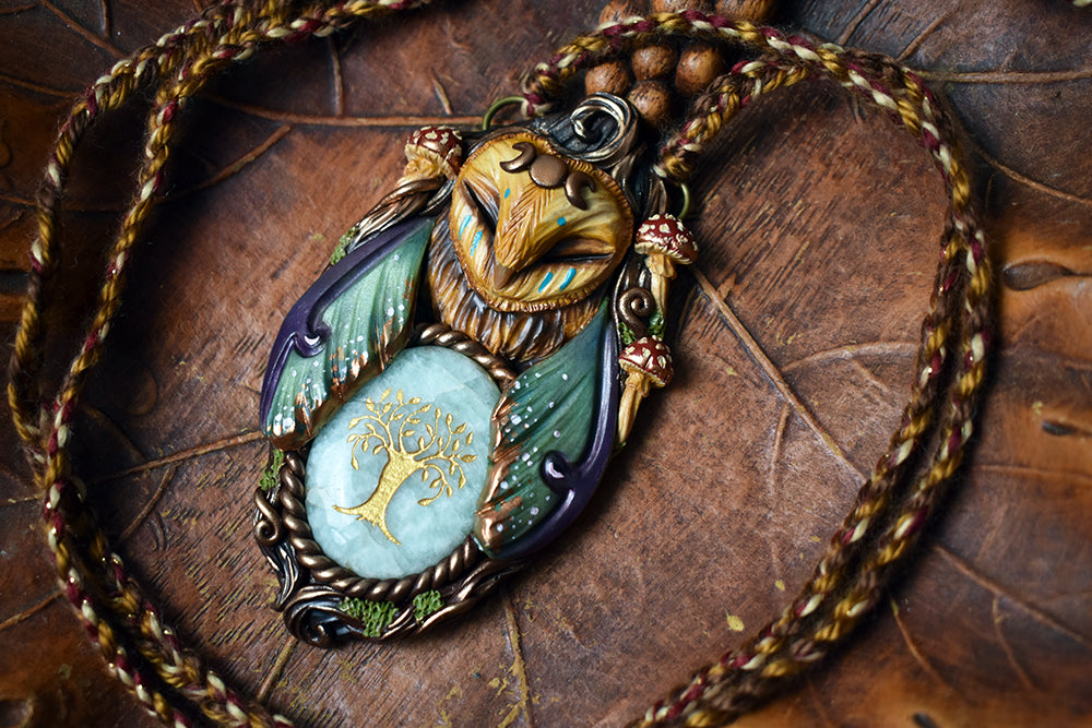 Barn Owl Forest Spirit with Tree Carved Amazonite Necklace