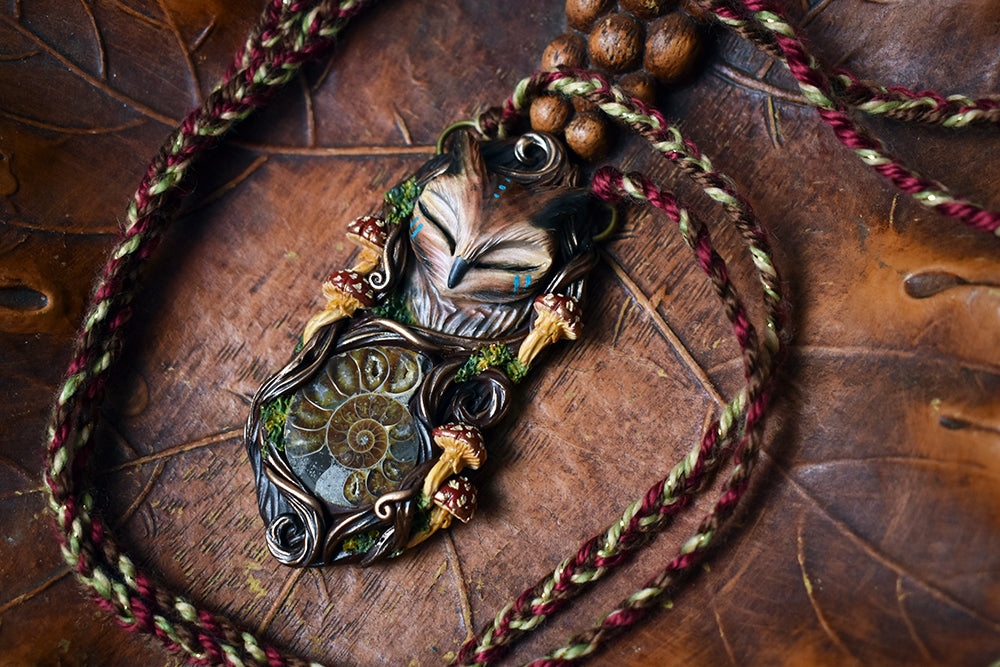 Horned Owl Forest Spirit with Ammonite Necklace