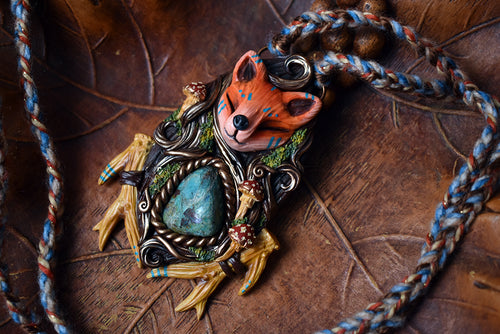 Fox Forest Spirit with Chrysocolla Necklace