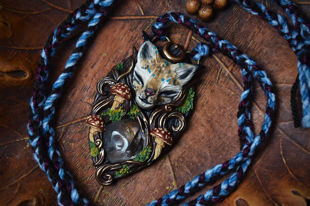 Lynx Forest Spirit with Lodolite Necklace