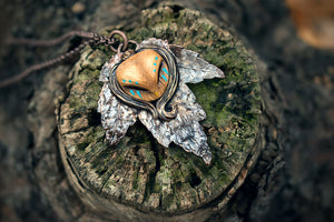 Copper Ashes x MothMagick - Barn Owl with Copper Leaf Necklace