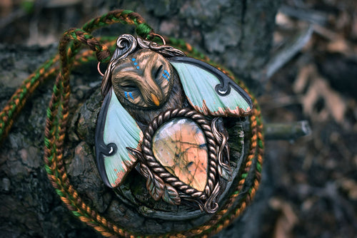 Great Grey Owl Luna Moth Forest Spirit with Labradorite Necklace