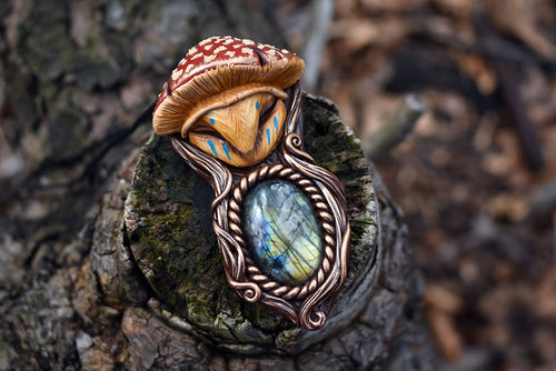 Mushroom Hat Barn Owl with Labradorite Necklace