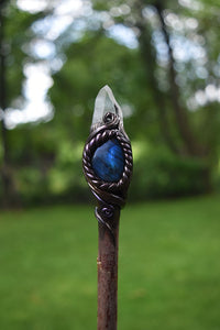 Lemurian Quartz with Labradorite, Amethyst, and Triquetra Willow Branch Wand