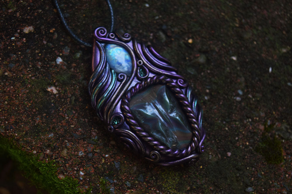 Carved Rainbow Obsidian Butterfly with Moonstone Necklace