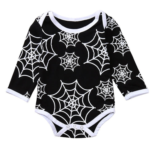 Long Sleeved Spider Web Print Halloween Onesie