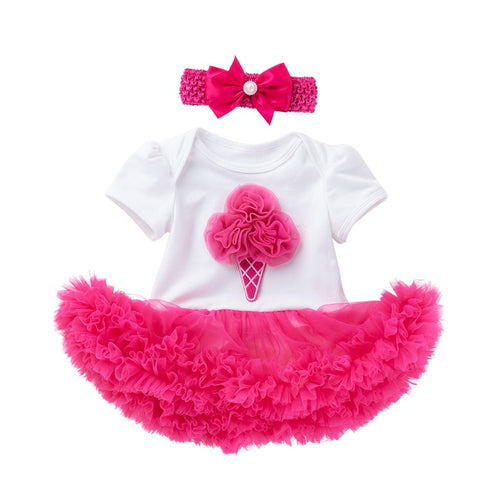 Short Sleeved Ice Cream Cone Tulle Onesie Dress + Headband
