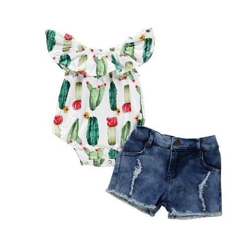 Callie's Cactus Onesie and Denim Shorts Set