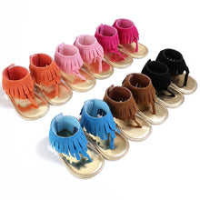 Load image into Gallery viewer, Suede Fringe Baby Sandal (6 colors)