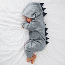 Load image into Gallery viewer, Dinosaur Hooded Jumpsuit: Baby Apparel