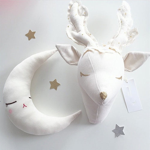 New! Plush Deer Head  Wall Mount For Nursery/Childs Room