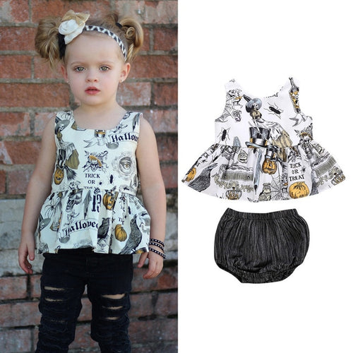Girl's Halloween Art Printed Top/Bloomer Set