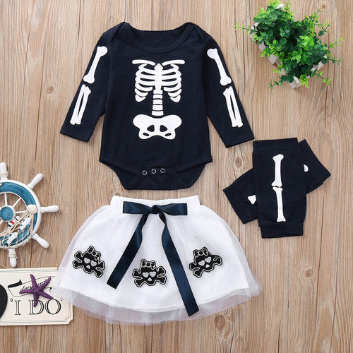 Baby Ghoul Halloween Skeleton Top/Tulle Crossbones Skirt