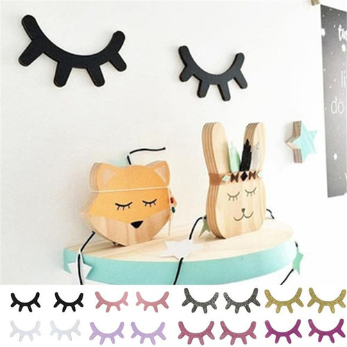 3D Eyelashes Wooden Wall Decor for Girls Room or Nursery