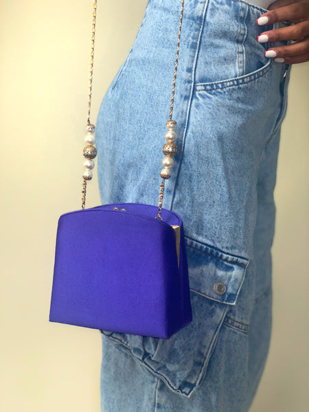 Vintage 90s Royal Blue Chain Strap Evening Purse