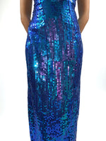80s Vintage Dress. Blue sequins