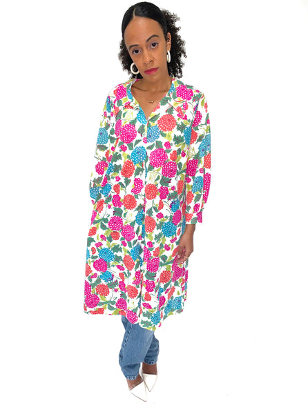 VINTAGE 90s Bright Pink Floral Shirt Dress/Jacket Dress