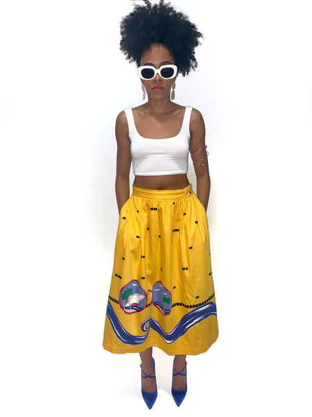 Vacation Lady Vintage 80s Novelty Print Yellow Midi Retro Skirt