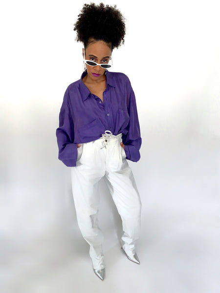 Vintage 80s High Waisted White Leather Pants