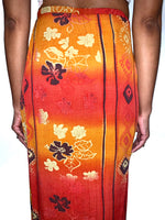Bohemian Babe Vintage 90s Hawaiian Orange Floral Maxi Skirt