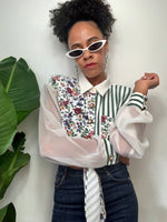 Vintage 90s Floral & Striped Button Down Crop Blouse