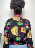 Vintage 90s Multi-Color Printed Silk Bomber Jacket
