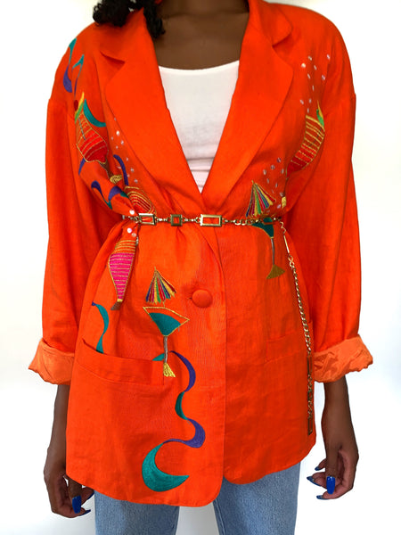 Happy Hour Vintage 90s Novelty Print Martini Orange Linen Jacket