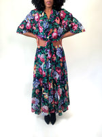 Picnic Date Vintage 80s Black Multi-Color Floral Skirt Set