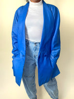 Vintage 80s Blue Leather Women's Jacket