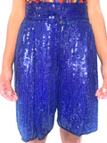 Vintage 80s Purple Sequin Oversized Party Shorts