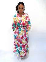 Vintage 90s Pink Floral Duster Robe Housecoat/House Dress