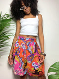 Vintage 80s Orange & Pink Multi-Color High Waisted Shorts