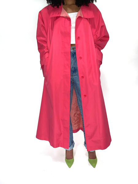 Vintage 90s Hot Pink Trench Coat
