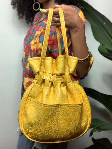 Vintage 90s Yellow & Orange Drawstring Faux Leather Bucket Bags