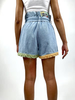 Vintage 90s Patchwork High Waisted Jean Shorts