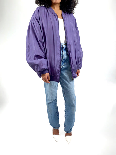 Vintage 90s Purple Silk Bomber Jacket