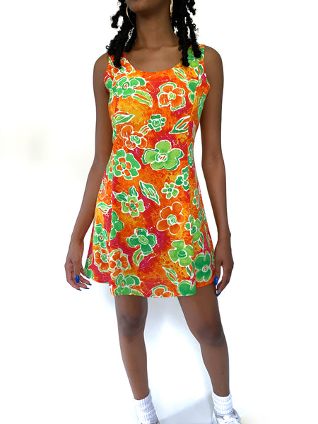 Flirty Girl Vintage 90s Orange & Green Floral Mini Summer Dress