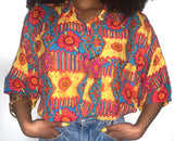 Afternoon Delight Vintage 90s Yellow & Orange Southwest Floral Print Shirt