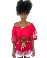 VINTAGE 90s-00s Hot Pink Fringed Beach Cover-Up Skirt Set