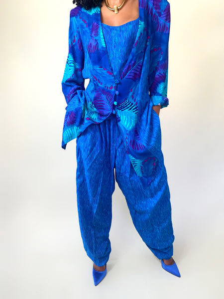Something Blue Vintage 90s Abstract Printed Two Piece Pant Suit