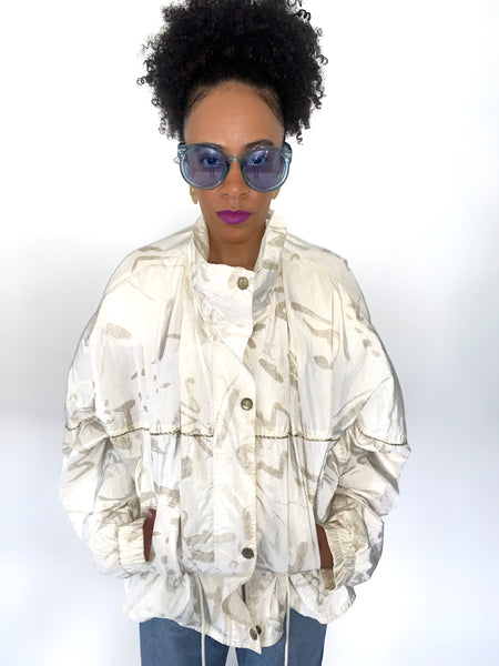 Vintage 90s Off White And Gold Peplum Windbreaker Track Jacket